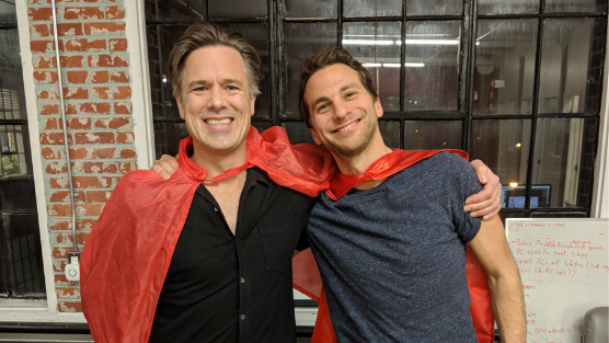 Marty and Corey at our office in Montreal in 2018 with the Dragons' Den rec capes.