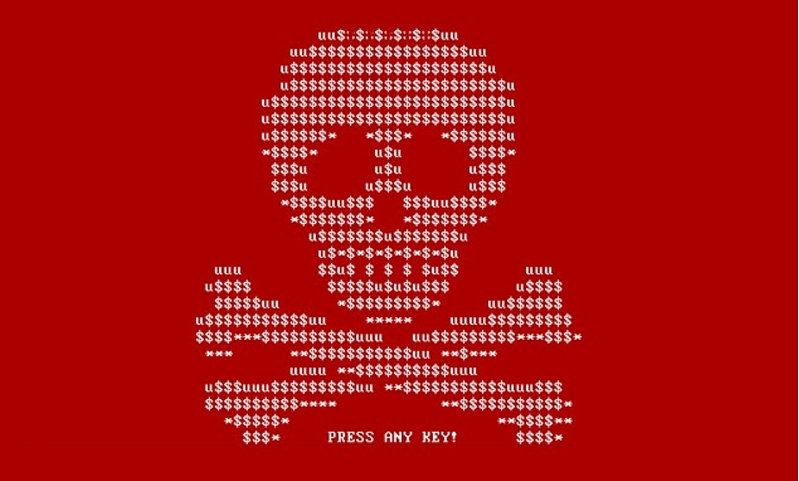 Petya Ransomware skull display