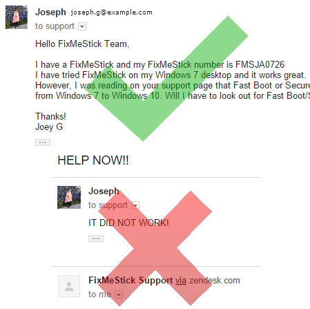 Image of an email to FixMeStick support