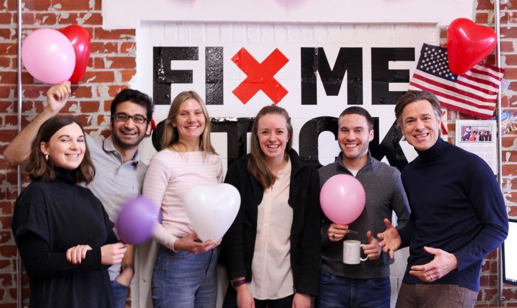 The FixMeStick team celebrating Valentine's Day in their office.