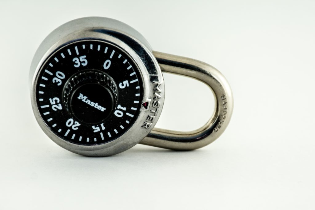 An image of a combination lock which represents the passwords you need on your computer.