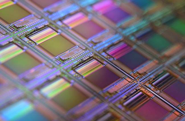 An image of semiconductors which are typically made of silicon and are used to conduct electricity through an electronic device.
